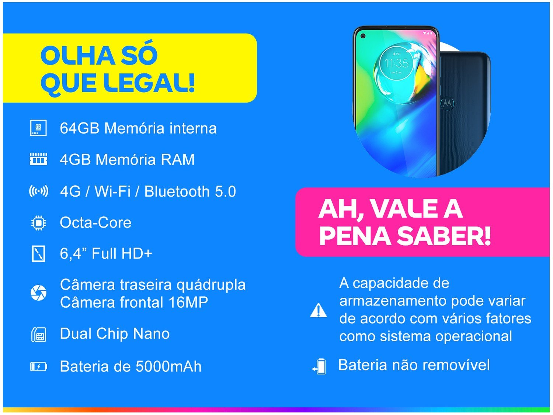 """Smartphone Motorola Moto G8 Power Azul Atlântico 64GB, Tela de 6.4"""" FHD+, Câmera Traseira Quádrupla, Android 10 e Processador Qualcomm Octa-Core - 5"""