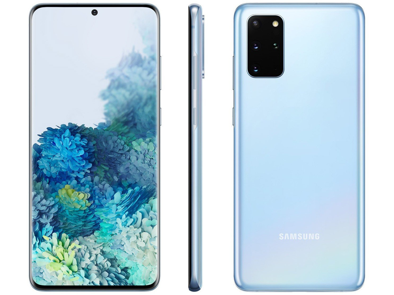 "Smartphone Samsung Galaxy S20+ 128GB Cloud Blue - 8GB RAM Tela 6,7"" Câm. Quádrupla + Selfie 10MP - Bivolt"