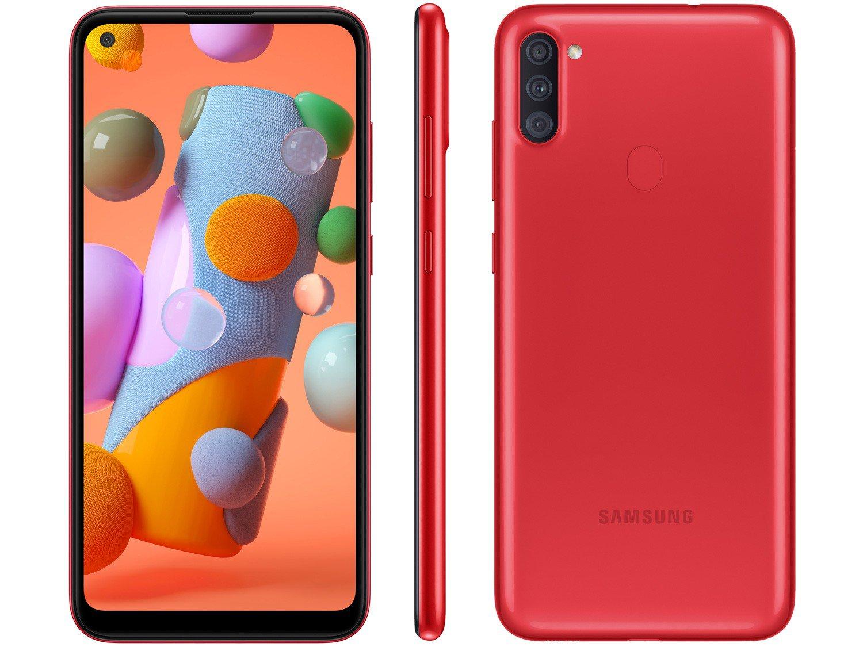 "Smartphone Samsung Galaxy A11 64GB Vermelho 4G - Octa-Core 3GB RAM 6,4"" Câm. Tripla + Selfie 8MP - Bivolt"