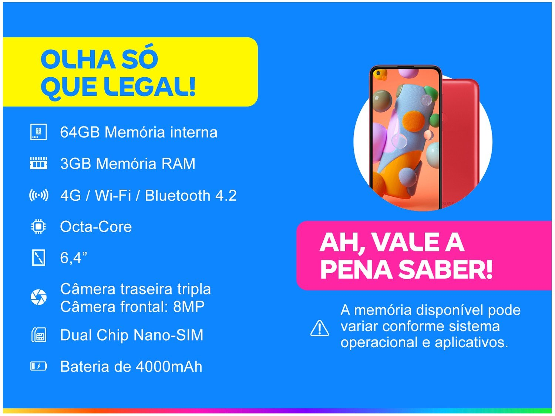 "Smartphone Samsung Galaxy A11 64GB Vermelho 4G - Octa-Core 3GB RAM 6,4"" Câm. Tripla + Selfie 8MP - Bivolt - 1"