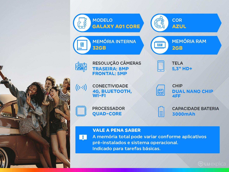 "Smartphone Samsung Galaxy A01 Core 32GB Azul - Quad-Core 2GB RAM Tela 5,3"" Câm. 8MP + Selfie 5MP - Bivolt - 1"