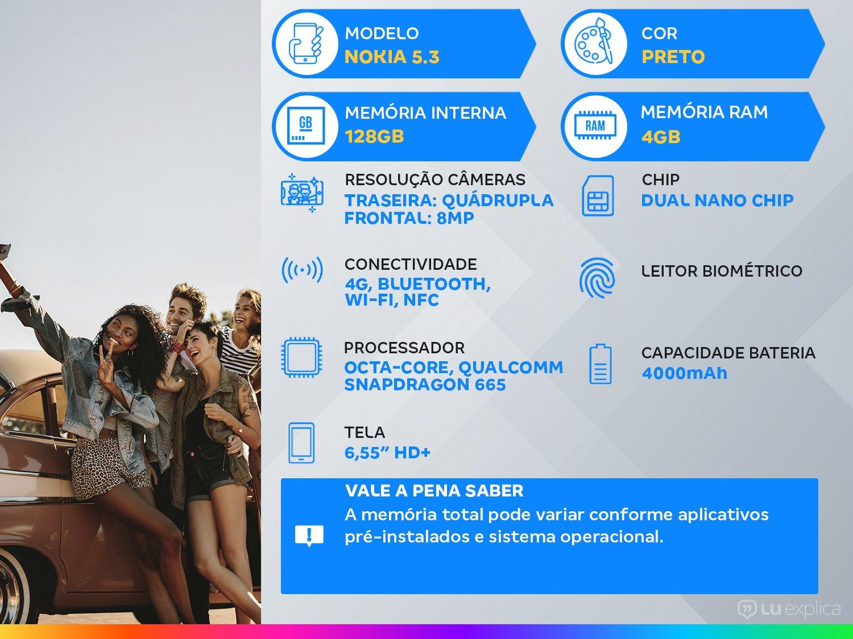 "Smartphone Nokia 5.3 128GB Preto 4G Octa-Core - 4GB RAM 6,55"" Câm. Quádrupla + Selfie 8MP - Bivolt - 1"