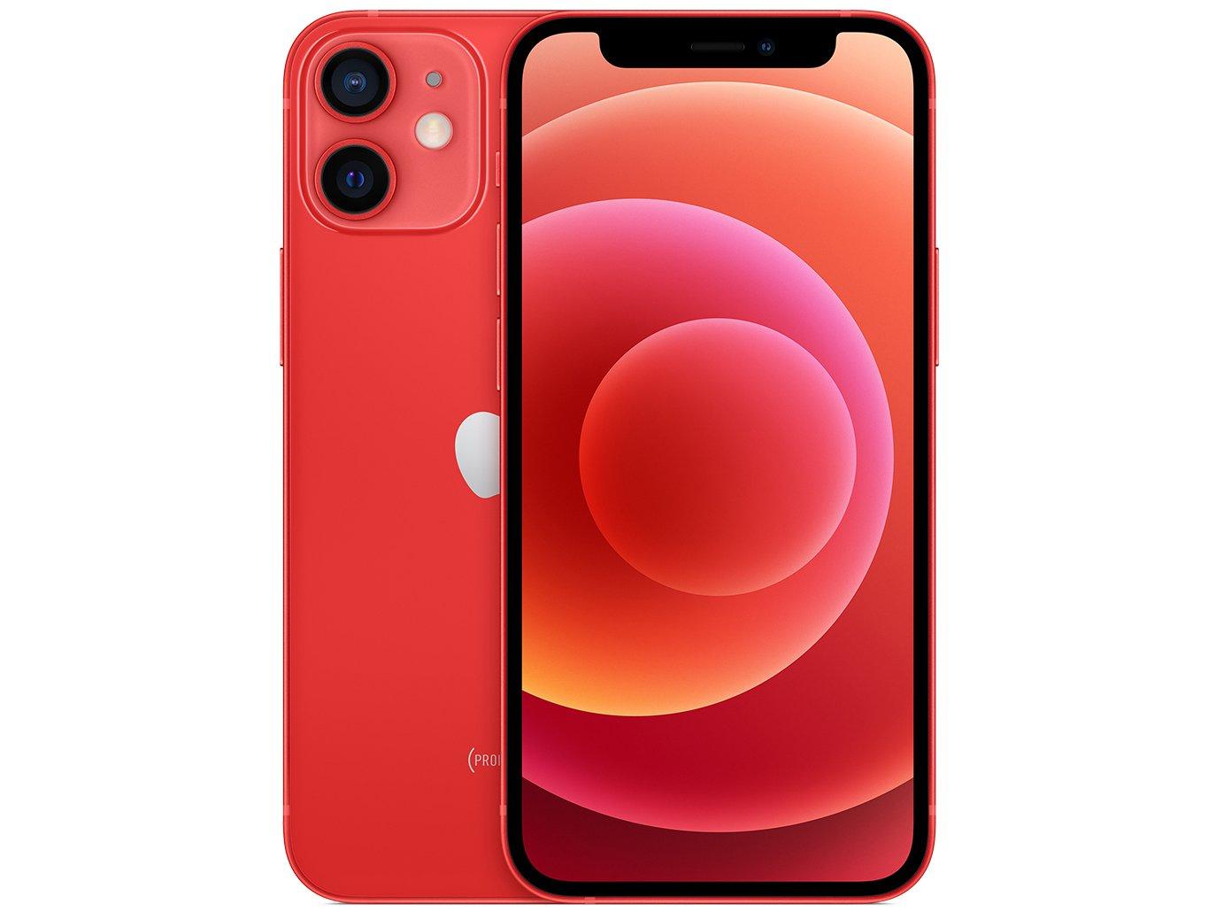"iPhone 12 Mini Apple 256GB (PRODUCT)RED 5,4"" - Câm. Dupla 12MP iOS"