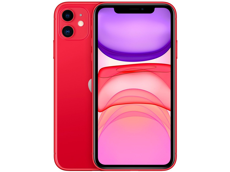 "iPhone 11 Apple 128GB (PRODUCT)RED, Tela Retina HD de 6.1"", iOS 13, Câmera Traseira Dupla MHDK3BR/A - 1"