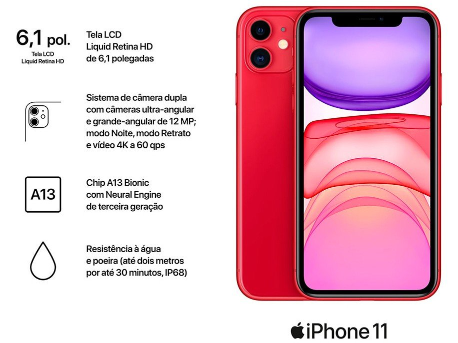 "iPhone 11 Apple 128GB (PRODUCT)RED, Tela Retina HD de 6.1"", iOS 13, Câmera Traseira Dupla MHDK3BR/A - 8"