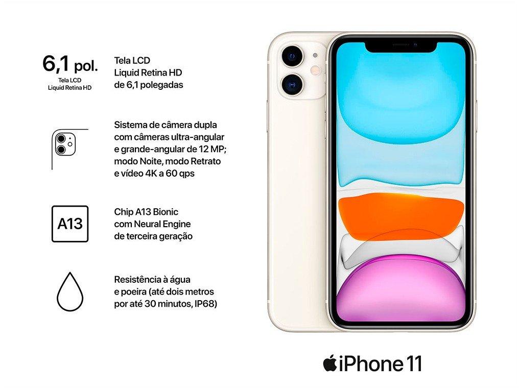 "iPhone 11 Apple 64GB Branco 6,1"" 12MP iOS -  - 4"