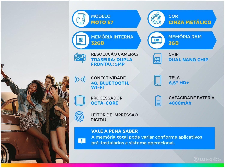 """Smartphone Motorola Moto E7 Cinza Metálico 32GB, 2GB RAM, Tela de 6.5"""", Câmera Traseira Dupla, Android 10 e Processador Octa-Core - 3"""