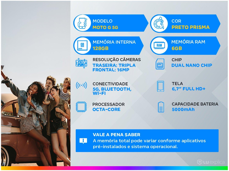 """Smartphone Motorola Moto G 5G Preto Prisma 128GB, 6GB RAM, Tela de 6.7"""", Câmera Traseira Tripla, Android 10 e Processador Octa-Core - 3"""
