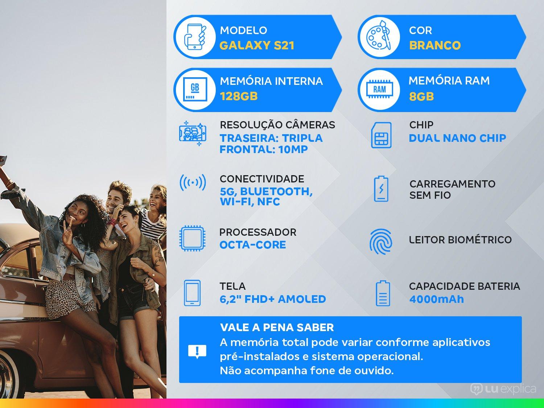 "Smartphone Samsung Galaxy S21 128GB Branco 5G - 8GB RAM Tela 6,2"" Câm. Tripla + Selfie 10MP - Bivolt - 1"