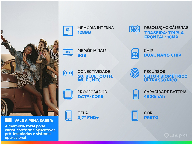 "Smartphone Samsung Galaxy S21+ 128GB Preto 5G - 8GB RAM Tela 6,7"" Câm. Tripla + Selfie 10MP - Bivolt - 1"