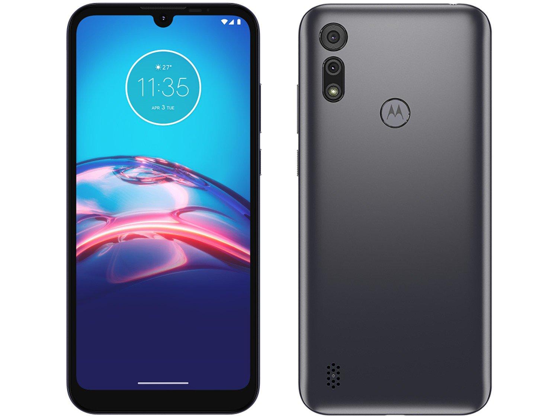 "Smartphone Motorola Moto E6i 32GB Cinza Titanium - 4G 2GB RAM Tela 6,1"" Câm. Dupla + Selfie 5MP - Bivolt"