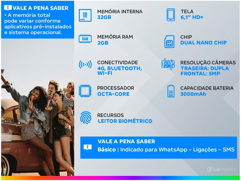 "Smartphone Motorola Moto E6i 32GB Cinza Titanium - 4G 2GB RAM Tela 6,1"" Câm. Dupla + Selfie 5MP - Bivolt - 1"