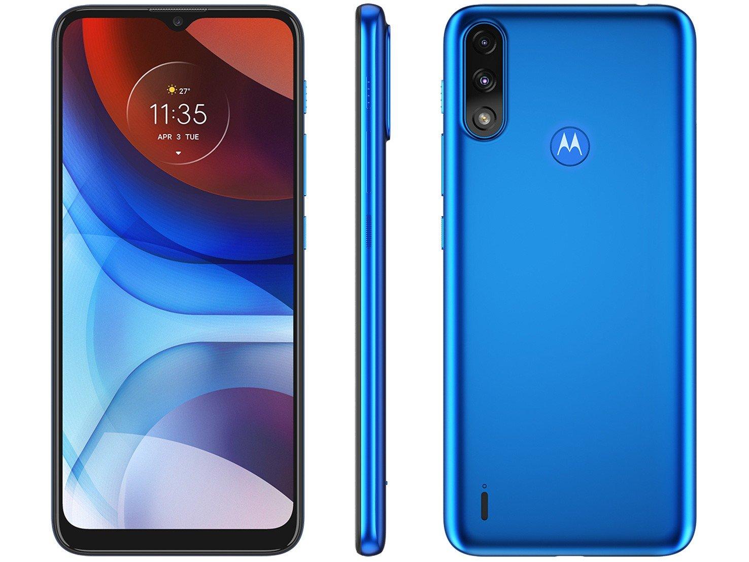 """Smartphone Motorola Moto E7 Power 32GB Azul - Metálico 4G 2GB RAM 6,5"""" Câm. Dupla + Selfie 5MP - Bivolt"""