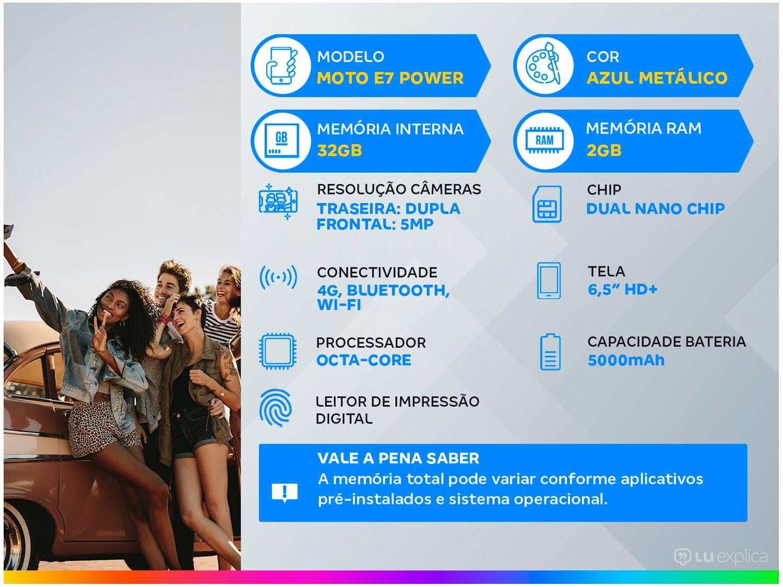 """Smartphone Motorola Moto E7 Power 32GB Azul - Metálico 4G 2GB RAM 6,5"""" Câm. Dupla + Selfie 5MP - Bivolt - 1"""