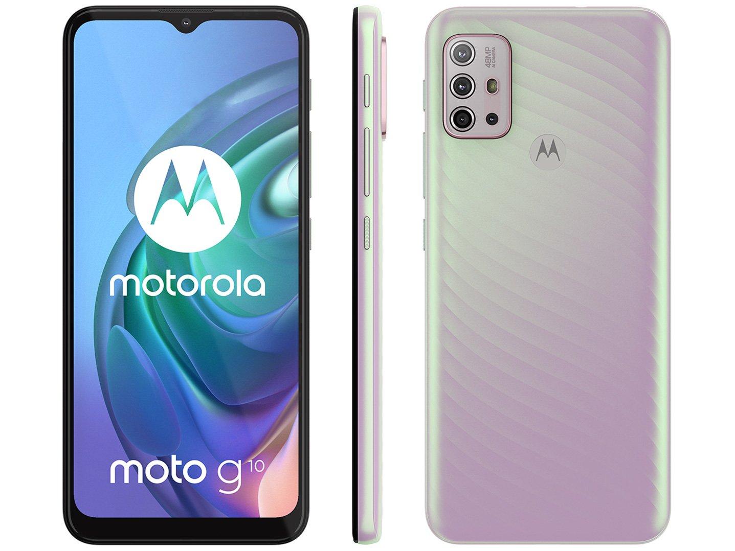 """Smartphone Motorola Moto G10 Branco Floral 64GB, 4GB Ram, Tela de 6.5"""", Câmera Traseira Quádrupla, Android 11 e Processador Qualcomm 460 Octa-Core - 1"""