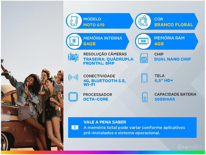 """Smartphone Motorola Moto G10 Branco Floral 64GB, 4GB Ram, Tela de 6.5"""", Câmera Traseira Quádrupla, Android 11 e Processador Qualcomm 460 Octa-Core - 3"""