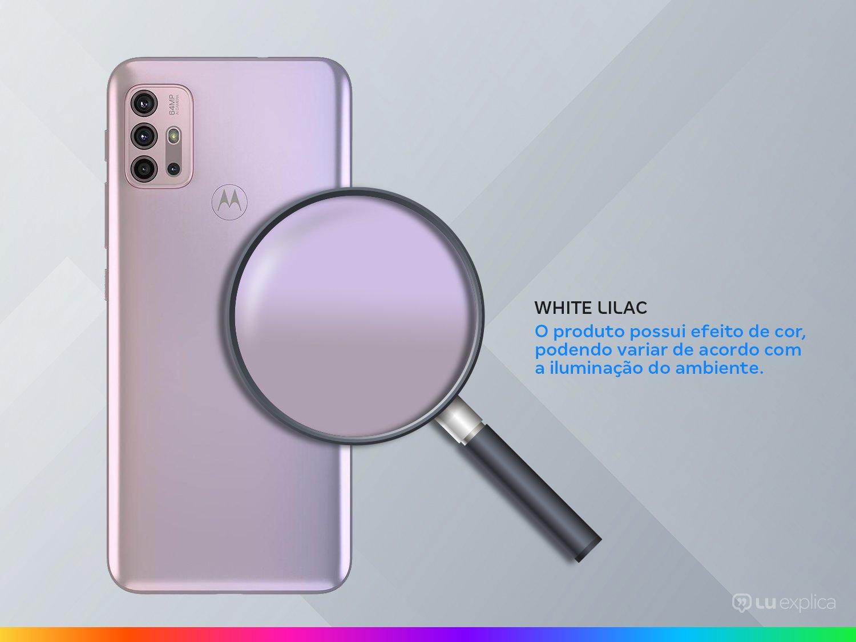"Smartphone Motorola Moto G30 128GB White Lilac 4G - 4GB RAM Tela 6,5"" Câm. Quádrupla + Selfie 13MP - Bivolt - 2"
