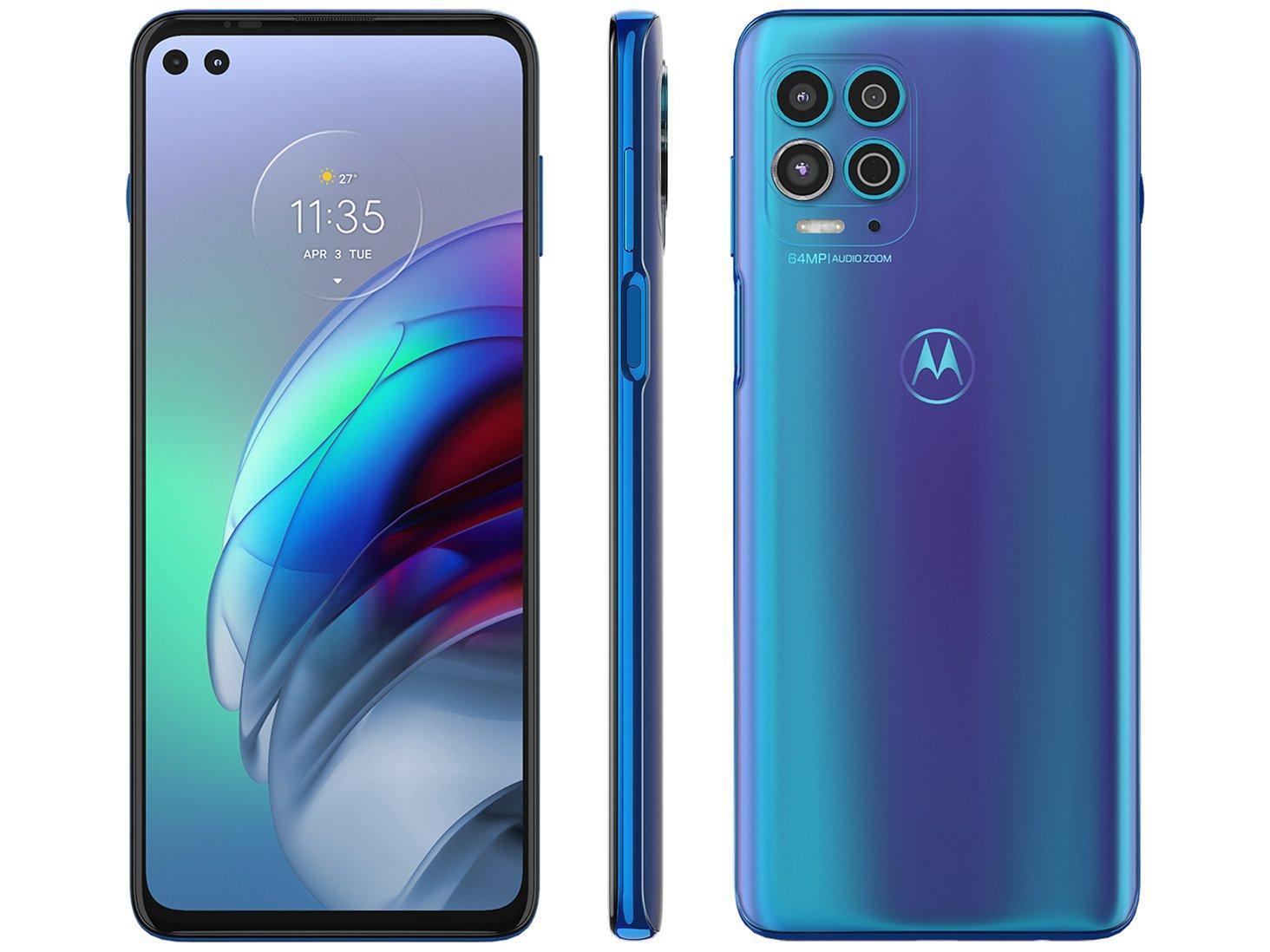 "Smartphone Motorola Moto G100 256GB Luminous Ocean - 5G 12GB RAM 6,7"" Câm. Quádrupla + Selfie Dupla - Bivolt"