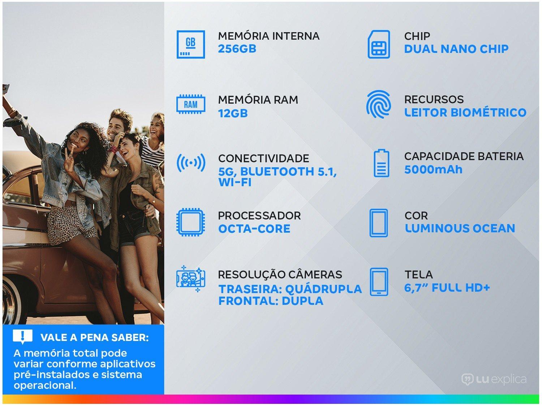 "Smartphone Motorola Moto G100 256GB Luminous Ocean - 5G 12GB RAM 6,7"" Câm. Quádrupla + Selfie Dupla - Bivolt - 1"