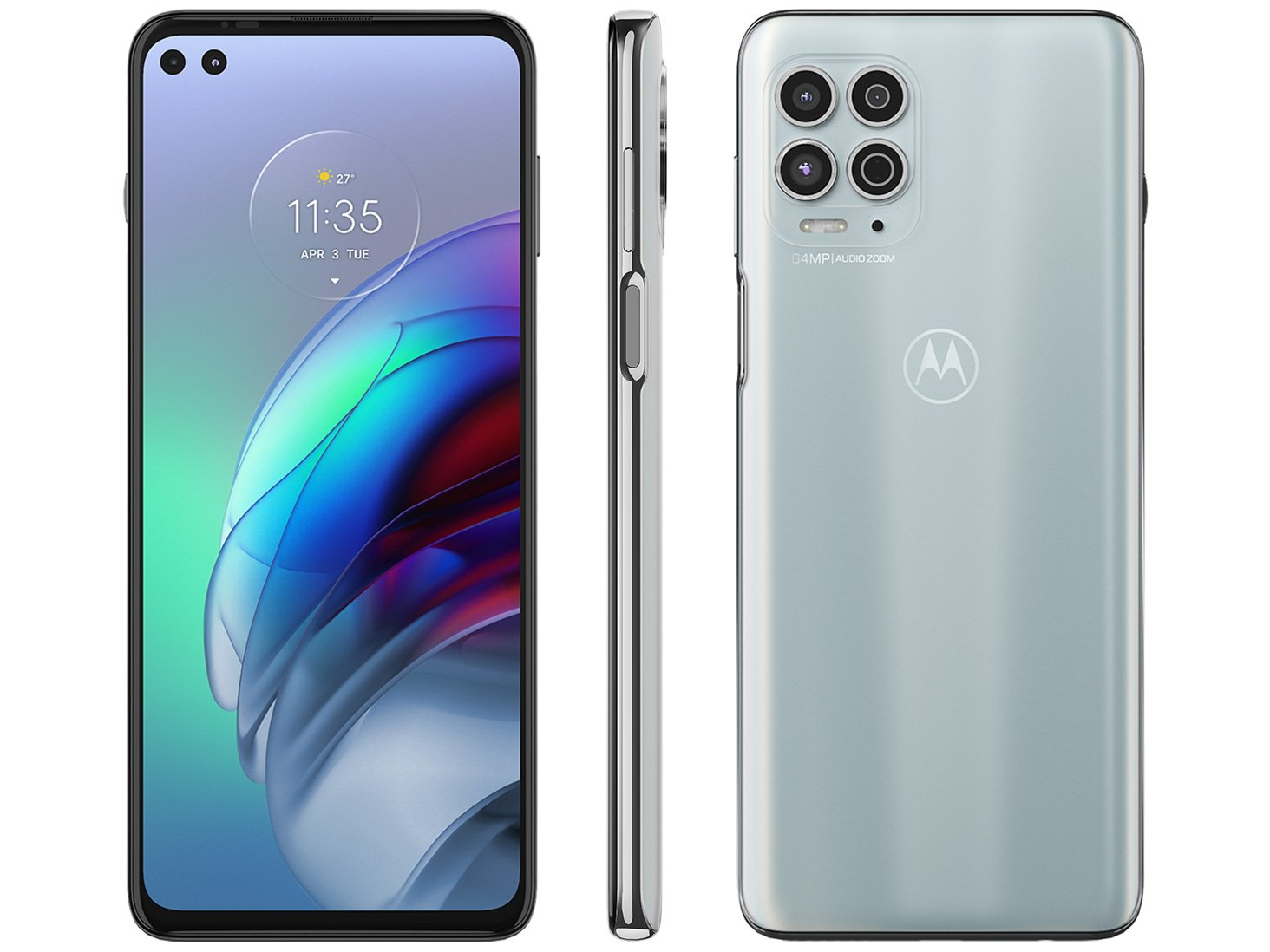 """Smartphone Motorola Moto G100 Luminous Sky 256GB, 12GB RAM, Tela de 6.7"""", 5G, Câmera Quádrupla, Android 11 e Processador Qualcomm 870 Octa-Core - 1"""