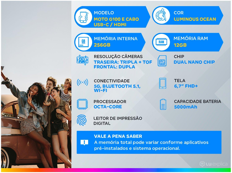 "Smartphone Motorola Moto G100 e Cabo USB-C/HDMI - 256GB Luminous Ocean 12GB RAM 6,7"" Câm. Quádrupla - 1"