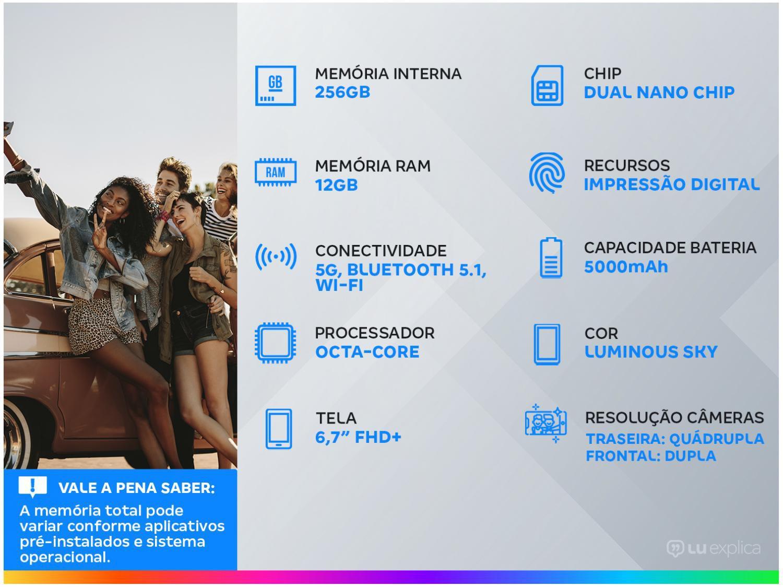 """Smartphone Motorola Moto G100 e Cabo USB-C/HDMI - 256GB Luminous Sky 12GB RAM 6,7"""" Câm. Quádrupla - 1"""