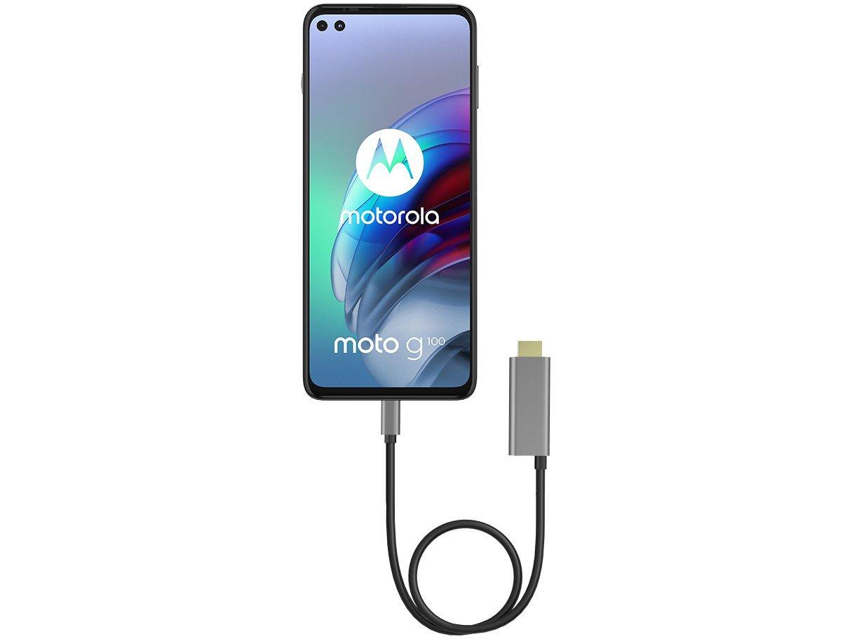 """Smartphone Motorola Moto G100 e Cabo USB-C/HDMI - 256GB Luminous Sky 12GB RAM 6,7"""" Câm. Quádrupla - 3"""