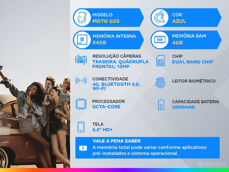 "Smartphone Motorola Moto G20 64GB Azul 4G - 4GB RAM Tela 6,5"" Câm. Quádrupla + Selfie 13MP - Bivolt - 1"