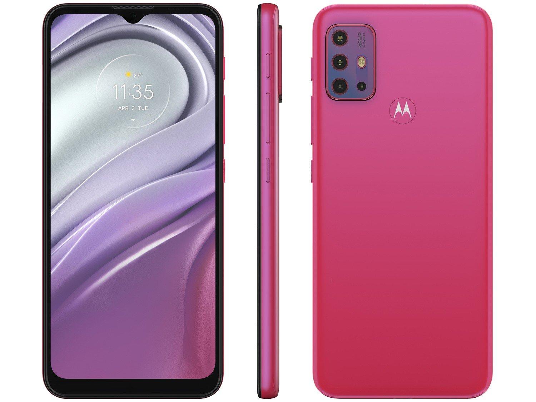 "Smartphone Motorola Moto G20 64GB Pink 4G - 4GB RAM Tela 6,5"" Câm. Quádrupla + Selfie 13MP - Bivolt"