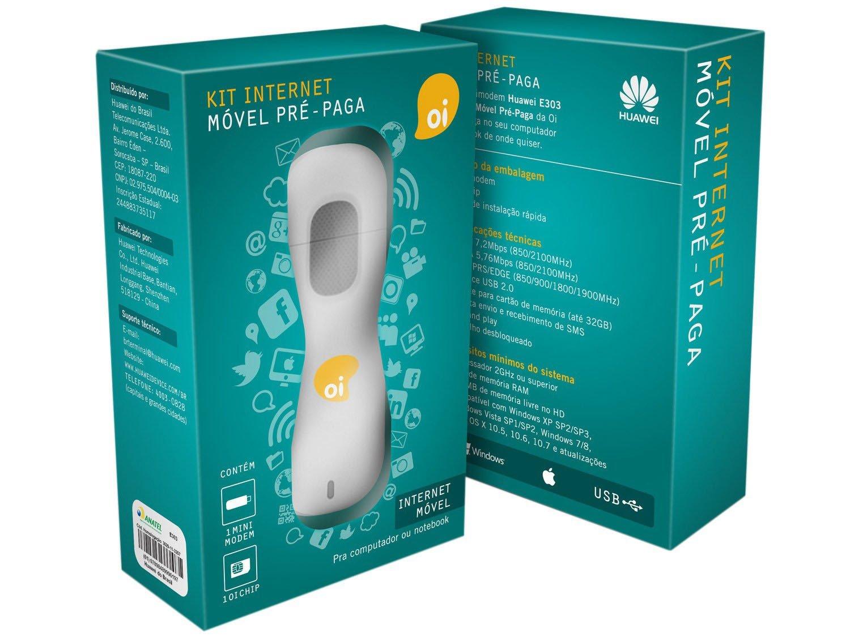 Foto 2 - Kit Mini Modem 3G Desbloqueado Oi E303 + Chip Pré - Pago DDD 92