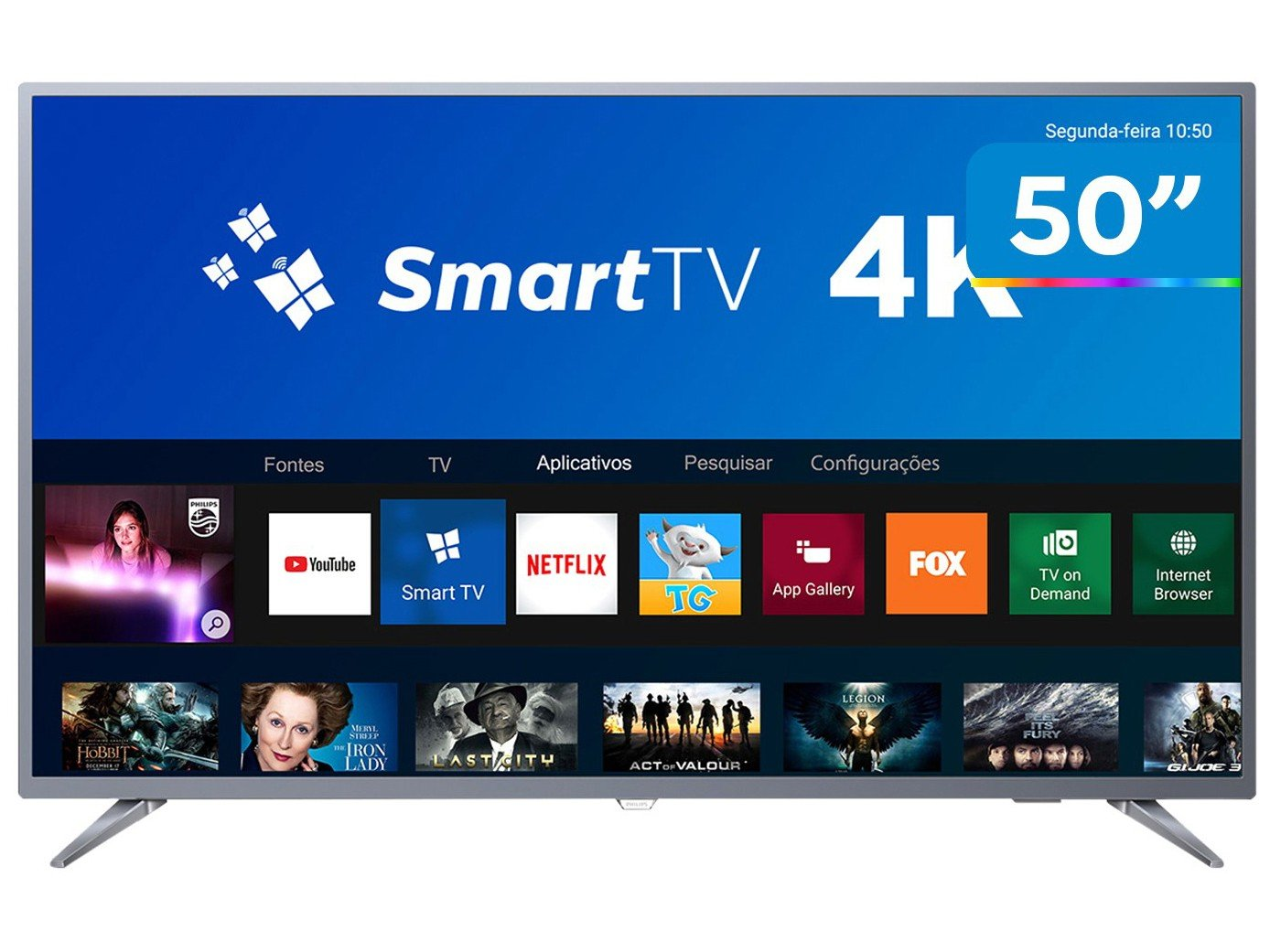 Foto 1 - Smart TV 4K LED 50 Philips 50PUG6513/78 Wi-Fi - 3 HDMI 2 USB