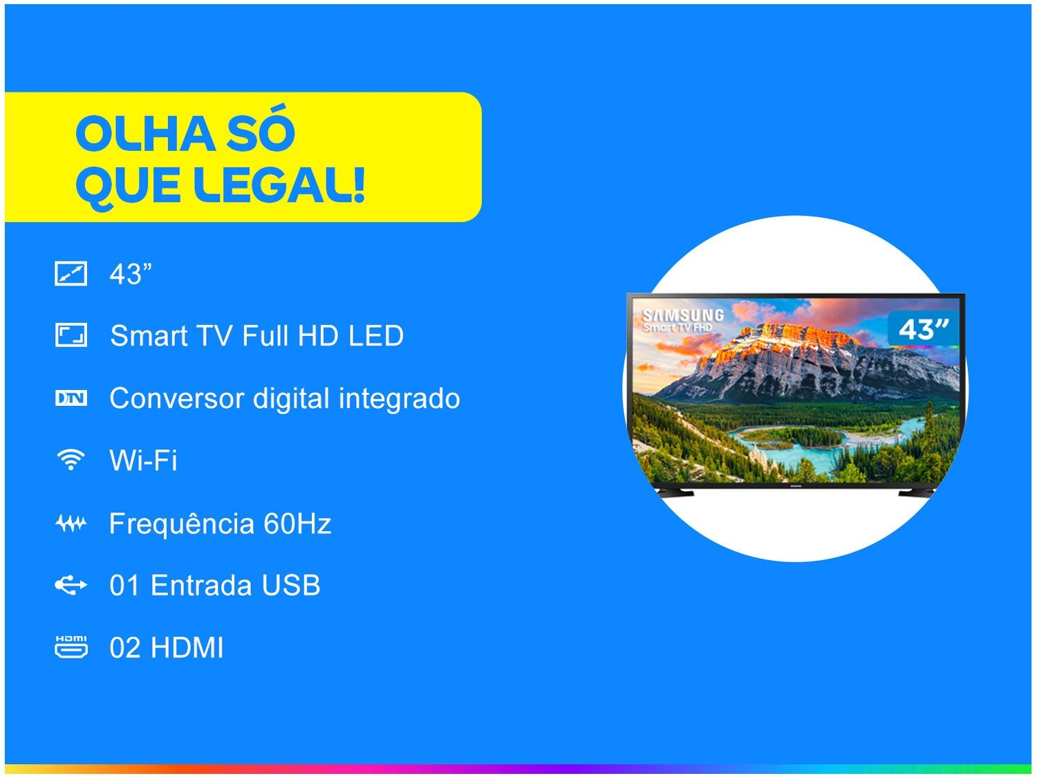 "Smart TV LED 43"" Full HD Samsung 43J5290 com Wide Color Enhancer Plus, Espelhamento de Tela, Wi-Fi, Dolby Digital Plus, HDMI e USB - 3"