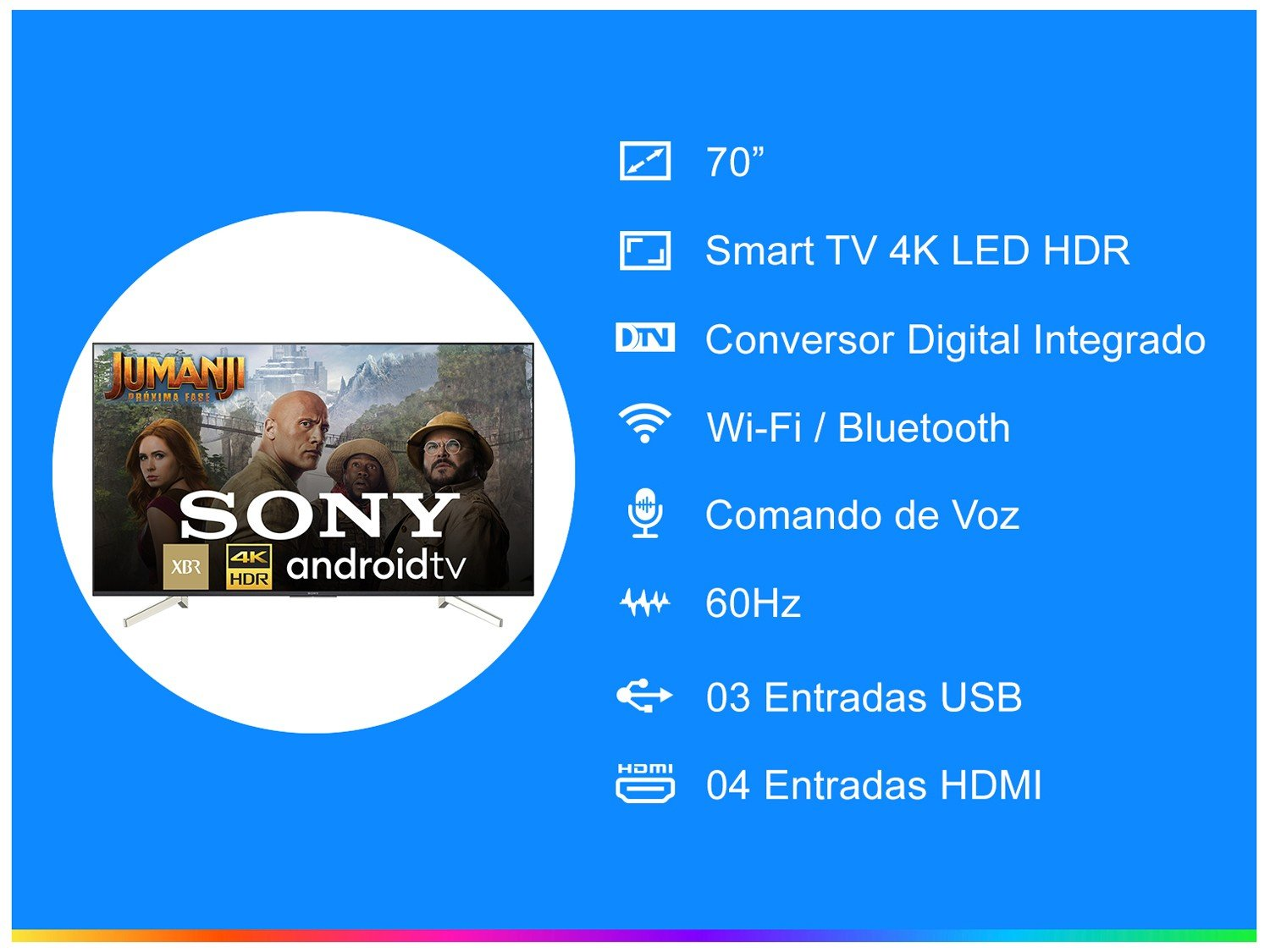 Foto 2 - Smart TV 4K LED 70 Sony XBR-70X835F Android - Wi-Fi HDR 4 HDMI 3 USB