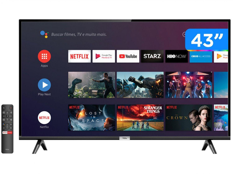 """Smart TV LED 43"""" Full HD TCL 43S6500FS Android, Controle Remoto com Comando de Voz, Google Assistant, HDR, Chromecast Integrado, Bluetooth e HDMI"""