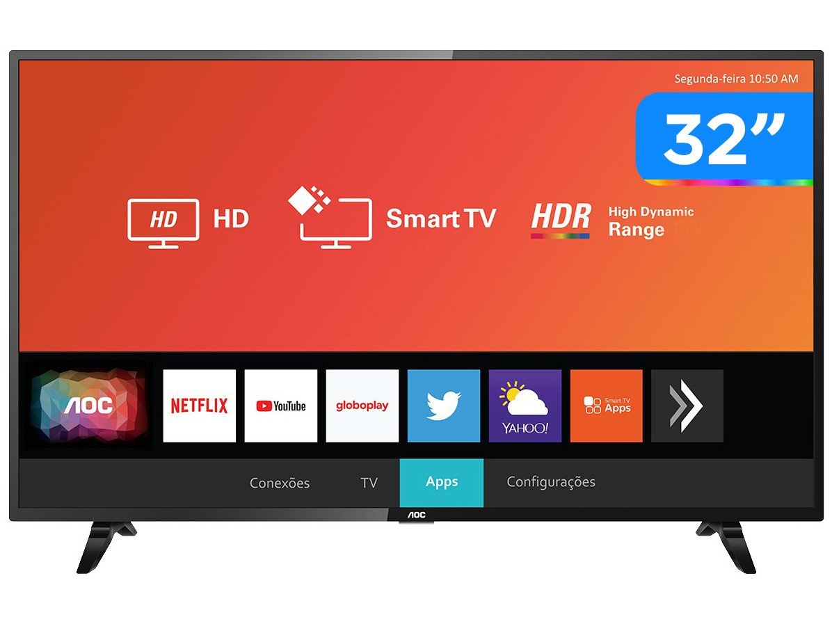 "Smart TV LED 32"" HD AOC 32S5295/78G com HDR, Wi-Fi, Miracast, Botão Netflix, Botão YouTube, Conversor Digital Integrado, HDMI e USB - 1"