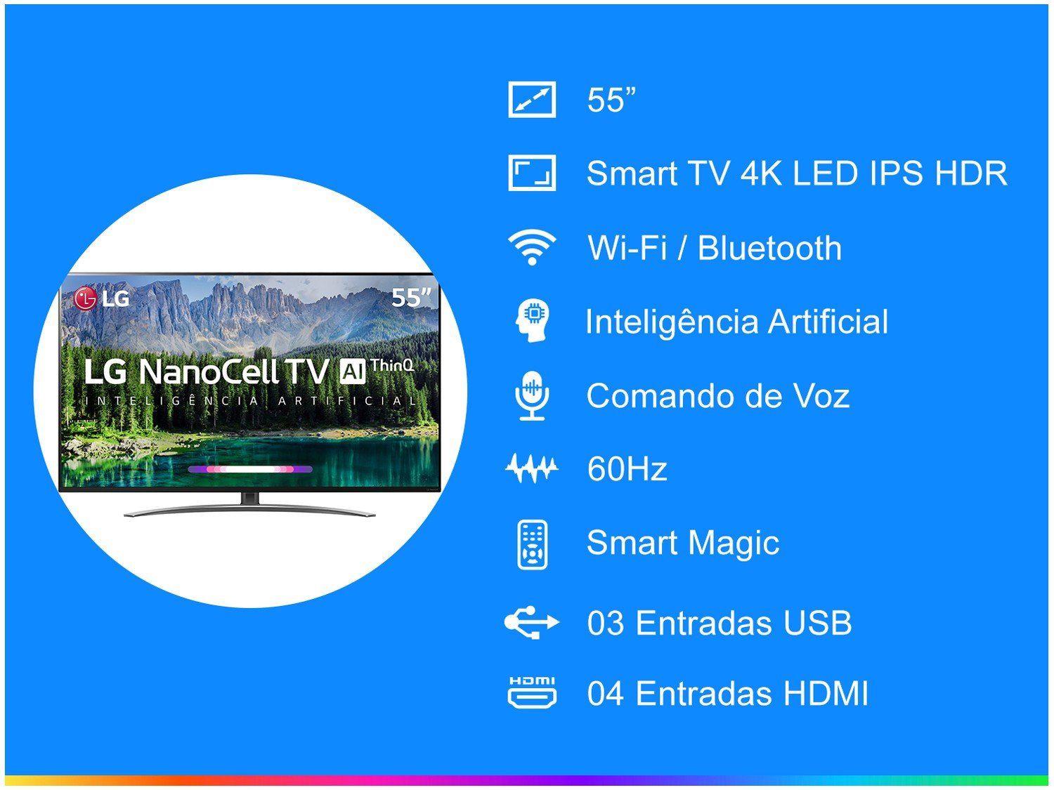 "Smart TV 4K NanoCell 55"" LG 55SM8600PSA Wi-Fi HDR - Inteligência Artificial Controle Smart Magic - Bivolt - 4"