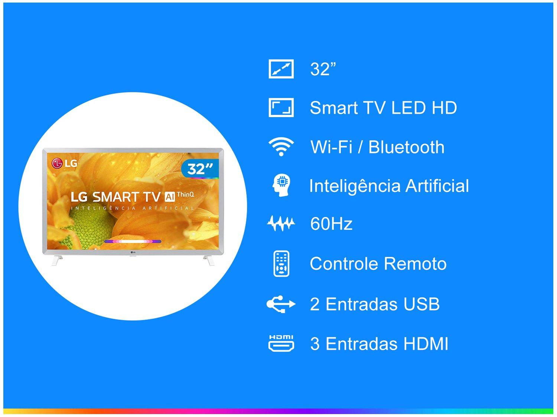 "Smart TV LED 32"" HD LG 32LM620BPSA ThinQ AI Inteligência Artificial com IoT, Virtual Surround Sound, WebOS 4.5, HDR, Quad Core, Bluetooth, HDMI e USB - 3"