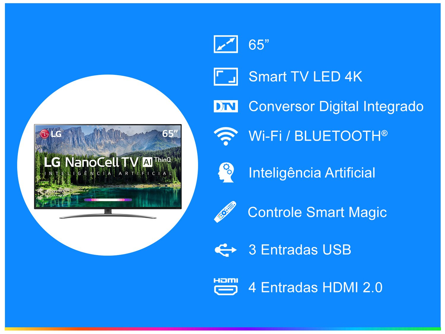 "Smart TV LED 65"" UHD 4K LG 65SM8600PSA NanoCell, ThinQ AI Inteligência Artificial IoT, IPS, HDR, Dolby Vision, Dolby Atmos e Controle Smart Magic - 1"