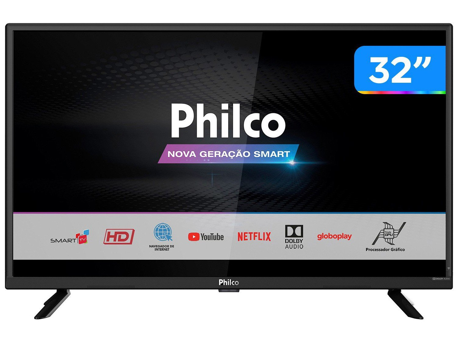 "Smart TV LED 32"" HD Philco PTV32G52S com Netflix, Dolby Audio, Wi-fi, Midiacast, Processador Quad-Core, Entradas HDMI e USB - 3"