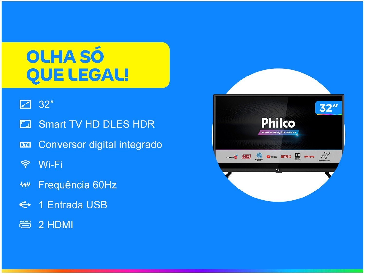 "Smart TV LED 32"" HD Philco PTV32G52S com Netflix, Dolby Audio, Wi-fi, Midiacast, Processador Quad-Core, Entradas HDMI e USB - 7"