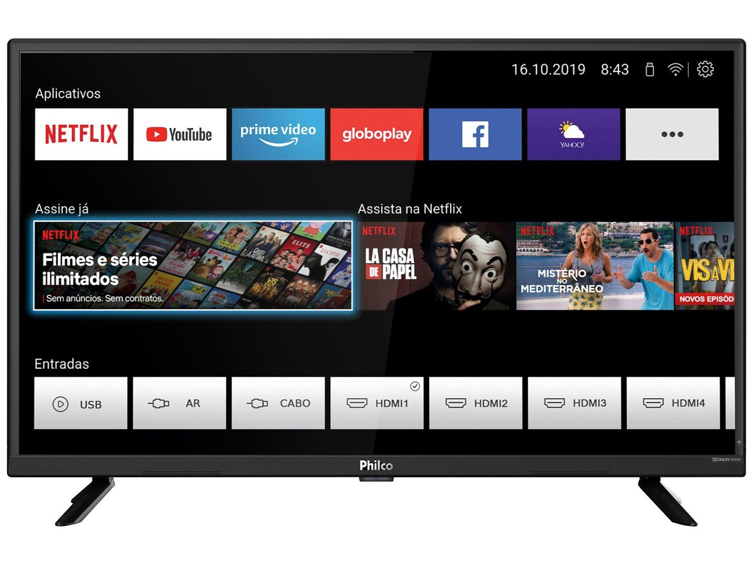 "Smart TV LED 32"" HD Philco PTV32G52S com Netflix, Dolby Audio, Wi-fi, Midiacast, Processador Quad-Core, Entradas HDMI e USB - 16"