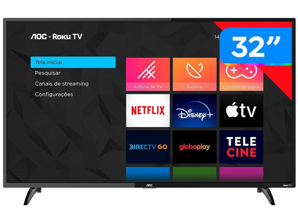 """Smart TV LED 32"""" HD AOC Roku 32S5195/78 com Wi-Fi, Controle Remoto com Atalhos, Roku Mobile, Miracast, PVR, Entradas HDMI e USB - 1"""