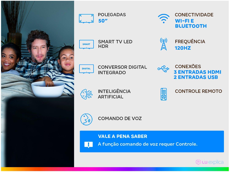 "Smart TV 4K LED 50"" TCL 50P8M Android Wi-Fi - Bluetooth HDR Inteligência Artificial 3 HDMI 2 USB - Bivolt - 4"