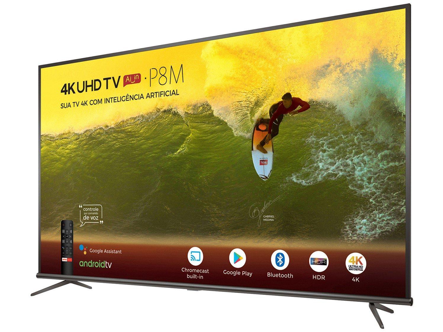 "Smart TV 4K LED 50"" TCL 50P8M Android Wi-Fi - Bluetooth HDR Inteligência Artificial 3 HDMI 2 USB - Bivolt - 16"