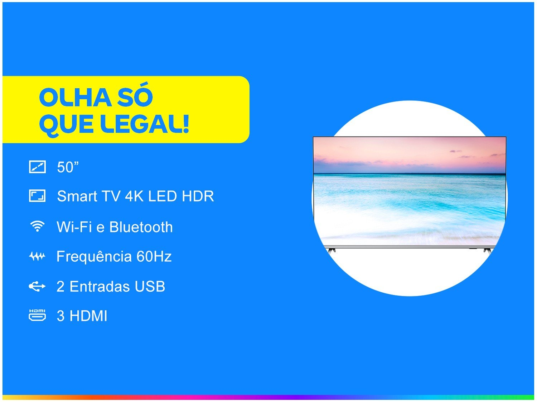 "Smart TV LED 50"" 4K Philips 50PUG6654/78 com HDR, Dolby Vision, Dolby Atmos, Wi-Fi, Quad Core, Bluetooth, Entradas HDMI e USB - 7"