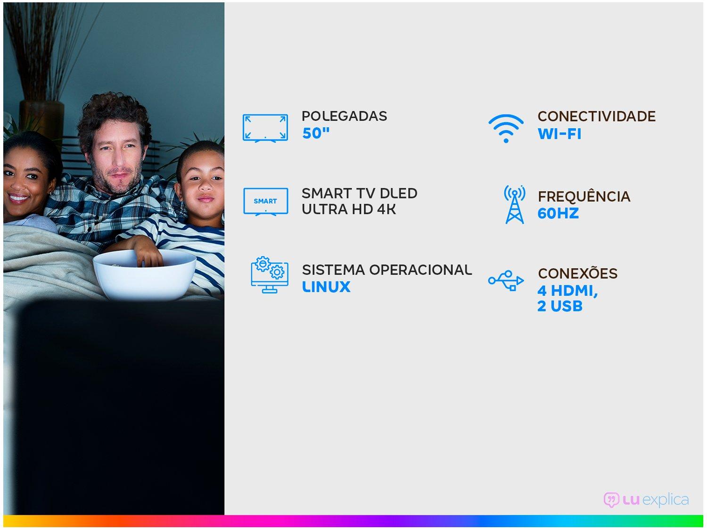 "Smart TV LED 50"" 4K Philco PTV50G70SBLSG com HDR, Processador Quad Core, GPU Triple Core, Dolby Audio, Mídia Cast, Wi-Fi, HDMI e USB - 3"