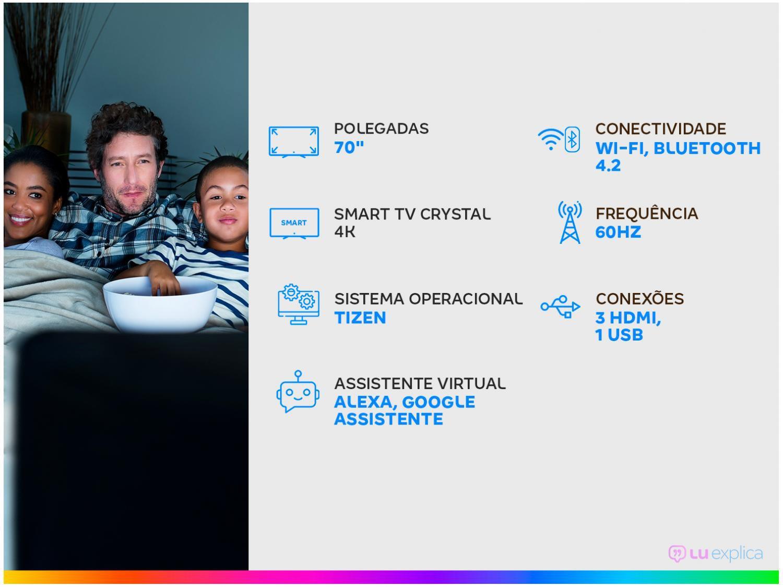 "Smart TV Crystal 4K 70"" Samsung UN70AU7700GXZD - Wi-Fi Bluetooth HDR 3 HDMI 1 USB - Bivolt - 1"