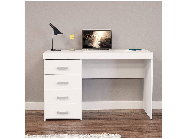 Mesa para Computador ou Escritório Politorno Malta com 4 Gavetas - Branco - 2