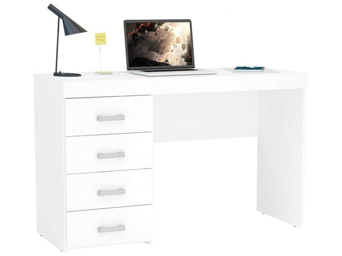 Mesa para Computador ou Escritório Politorno Malta com 4 Gavetas - Branco - 4