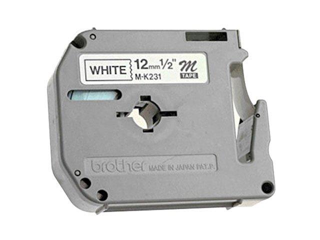 Foto 1 - Fita para Rotulador Preta sobre Branco 12mm - Brother M 231
